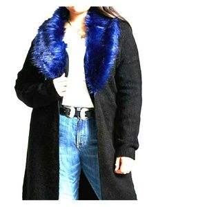 🆕 Listing Black cardigan with blue fur